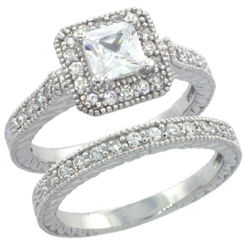 Sterling Silver Vintage Style 2-Pc. Square Engagement Ring Set W/ Princess (5Mm) & Brilliant Cut Cz Stones, 3/8 In. (10Mm) Wide, Size 6