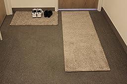 2 Piece Set - Carpet Door Mat & Rug Runner - 25 Oz Frieze TAFFY APPLE BEIGE - Consists of 1-2\'x4\' Mat & 1 Runner (Choose your size from: 6\', 8\', 10\', 12\' and 14\') (1 - Mat 2\'x4\' / Runner 2\'x6\')
