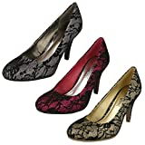Ladies L2232 Glitter/Lace High heel Court Shoe thumbnail