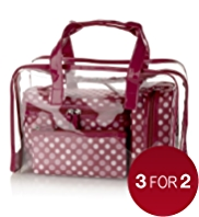 4 Piece Spotted Cosmetic Bag Set