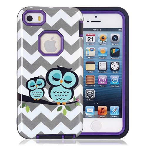 5s Case, iphone 5s Case. ArtMine Sleeping Owls 3 in 1 Hybrid Impact Resistant Silicone & Plastic Tough Rugged Heavy Duty Armor Combo Defender Protective Case for Apple iphone 5s (Purple) (Iphone 5s Case Protective Owl compare prices)