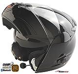 Motorradhelm Bluetooth 4 Klapphelm Viper V131 Touring Motorroller Helm Schwarz