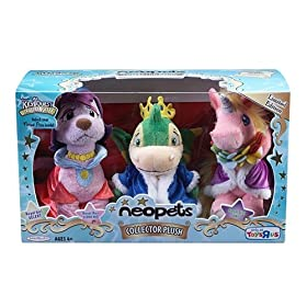 Neopets Collectors Series 1 Royal Girl Uni, Royal Boy Scorchio and Royal Girl Gelert 3 pack set