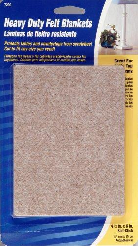 Waxman 4720095N Self-Stick Heavy Duty Felt Blanket Pads, 4-1/2-Inch by 6-Inch, Oatmeal
