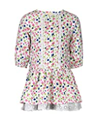 Budding Bees Girls Multicoloured Striped Printed Gathered Dress