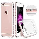 iPhone6 ケース クリア ESR iPhone6s ケース シリコン キラキラ ハード アルミ/PC/TPU耐衝撃カバー 電波影響無し ラインストーンデコ iPhone6/ iPhone6s バンパー (ピンク)