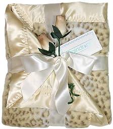 Raindrops Faux Fur Receiving Blanket, Ivory