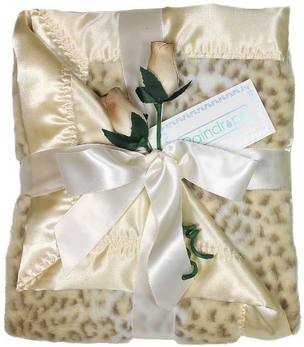 Raindrops Faux Fur Receiving Blanket, Ivory