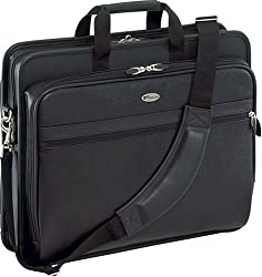 Targus Deluxe Top-Loading Leather Case Designed for 17 Inch Laptops TLE400 Black)