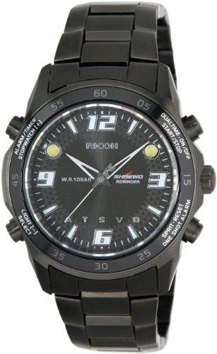Ricoh Men'S Watch Shrewd Reminder Inductive Charge Analogue Vibration Alarm Chronograph Led Blackblack 660001-93
