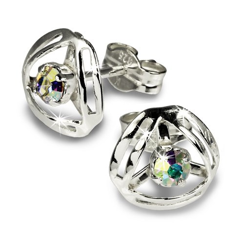SilberDream earring Design with cristall gleaming Zirkonia 925 Sterling Silver SDO528F