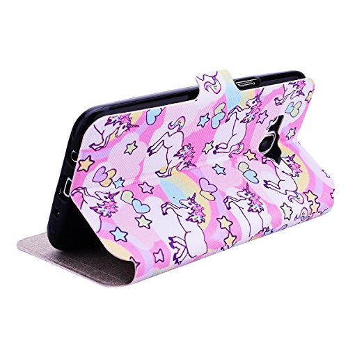 SmartLegend-Etui-Coque-Samsung-Galaxy-J5-2015-Version-Fentre-Vue-Hull-Rose-Licorne-Pochette-Protection-PU-Cuir-Wallet-Flip-Window-View-Housse--Rabat-Magntique-Fonction-Stand-Anti-Choc-Fine-Fente-Carte