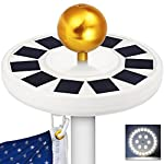 GRDE Solar Flag Pole light 30 LED Flagpole Downlight Lighting Night Light for 15 to 25 Ft Top