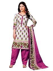 Gokals Women's Cotton Unstitched Salwar Suit (G809_White Purple_Free Size) (G809)