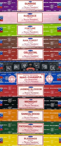 Set of 12 Nag Champa Sunrise Sandalwood Midnight Patchouli Celestial Fortune Blessings Romance Super Hit Jasmine Blossom Rain Forest By Satya