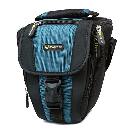 Evecase Durable Compact Digital Slr Camera Carrying Pouch Nylon Case With Strap- Black/Blue For Nikon D810 D800 D750 D610 D600 D3200 D7100 D5200 D5300 D3300, Pentax K-5, Fujifilm Dslr