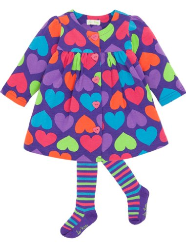 Le top Baby-girls Queen of Hearts Swing Dress with Coordinating Tights