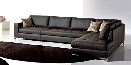 Calia Maddalena - Pouf 80x80cm for Simona Sofa, Leather Maya 7303 Terra
