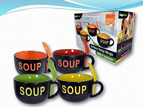 COLORFUL 8 PIECE CERAMIC DELUXE 16OZ. SOUP MUG SET - SOUP (Soup Bowls Set compare prices)