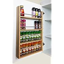 4 Tier Solid Oak Spice Rack - Kitchen Back of Door / Side of Cupboard - 32 Jar Capacity