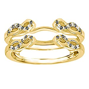 0.22CT Black and White Diamonds Infinity Designed Wedding Ring Enhancer set in Yellow Plated Sterling Silver (0.22CT TWT Black And G-H I2-I3 Diamonds)