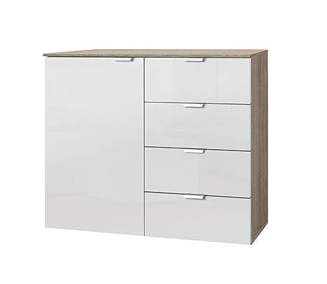 Solutions 30806-768 Kommode mit einer Drehtur und vier Schubkästen, 100 x 80 x 42 cm, sonoma eiche / lackweiß, Holzwerkstoff