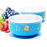 Baby Mate 2 PCS Stay Put Baby Suction Bowl With Lid - Stainless Steel Bowl For Kids - Suction Bowl For Toddlers - Feeding Set For Baby - Baby Dinnerware Set (Blue & Blue)