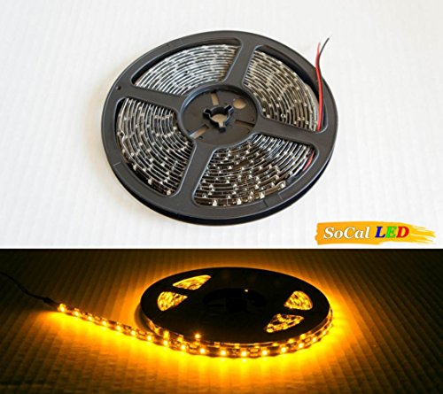 Socal-Led 5M 16.4Ft Yellow/Amber Flexible Led Strips High Bright 300 Smd3528 Ip65 Waterproof With 3M Tape Cuttable