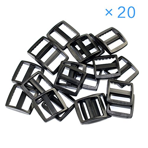 "BUYBEST 20 PCS 1/2"" (13mm)Black Plastic Tri-glide Buckles for Belt Backpack with Free Cable Organizer"
