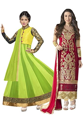 ef9589a3f Style Mania Georgette Colored Multi Embroidered Combo of 2 Salwar kameez