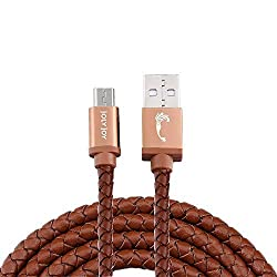 Joly Joy® Micro USB Charger Cable, High Speed USB 2.0 A Male to Micro B Sync and Charge Cord with PU Leather Coating, 1m 3.3ft (Brown)