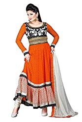 Jinaam Women's Synthetic Georgette Unstitched Dress Material (jess 63_Orange_Free Size)