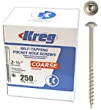 Kreg SML-C250 - 250 2 1/2-Inch Pocket Hole Screws No.8 Coarse, Washer Head, 250 Pack