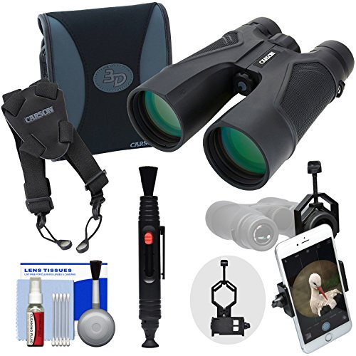 Carson 3D Series 10x50 ED Waterproof / Fogproof Binoculars & Case with Shoulder Harness + Smartphone Adapter + Kit