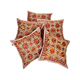 Rajrang Orange Cotton Embroidered With Mirror Work Cushion Cover Set Of 5 Pcs