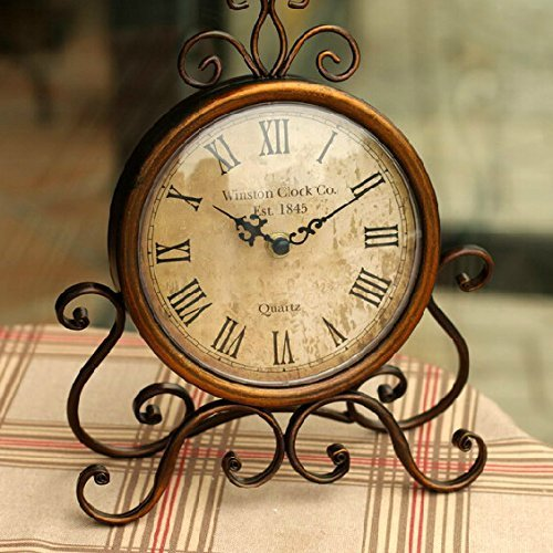 Glodeals European Style Antique Retro Vintage-Inspired Wrought Iron Craft Table Clock Home Decor (Dark Gold)