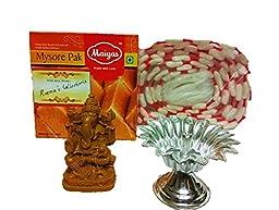 Diwali decoration and diwali gift ganesha idol with sweets,combo