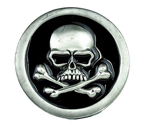 Evil Skull and Crossbones with Black Inlay Belt Buckle