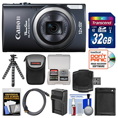 Canon Powershot Elph 340 Hs Wi-Fi Digital Camera (Black) With 32Gb Card + Case + Battery/Charger + Flex Tripod Kit