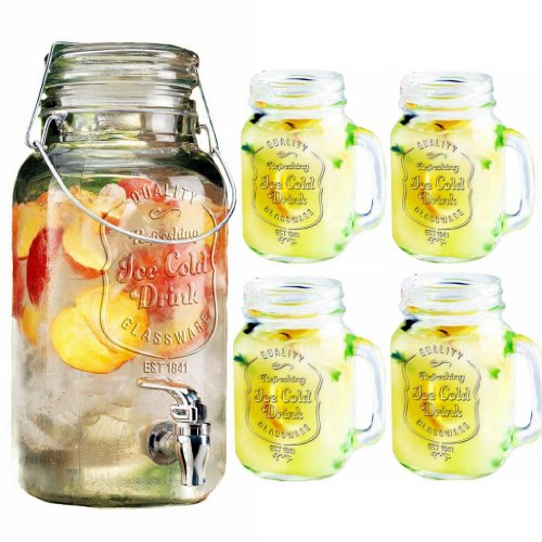 Durable Drinkware Set, Clear Glass 1-gallon Bail & Trigger Beverage Dispenser with 4 Glass Mason Mugs 16-oz, Home Bar & Party Glassware Set