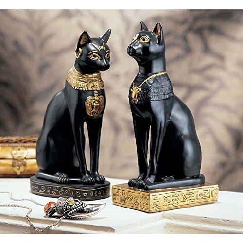 Design Toscano Egyptian Cat Goddess Bastet Statue in Matte Black (Set of 2)