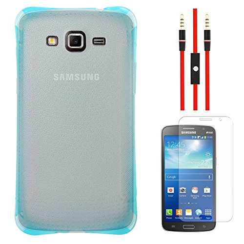 DMG Ultra Thin Flexible TPU Extra Protection and Grip Back Cover Case For Samsung Galaxy Grand 2 G7102 (Blue) + AUX Cable + Matte Screen