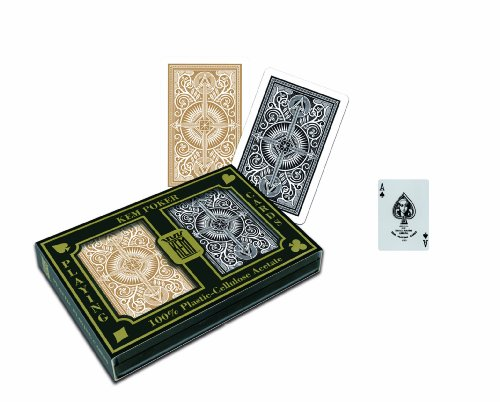 KEM Arrow Black and Gold Poker Size Standard Index Playing Cards