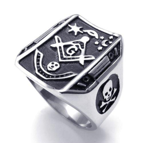 (キチシュウ)Aooazジュエリー メンズステンレスリング指輪 フリーメーソンデザイン スカル髑髏 ブラックとシルバー 高品質のアクセサリー 日本サイズ24号(USサイズ11号)