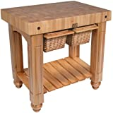 """American Heritage Gathering Prep Table with Butcher Block Top Size: 36"""" W x 24"""" D"""