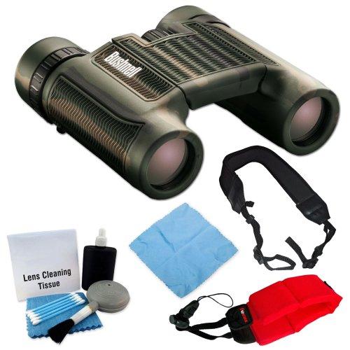 Bushnell 130106C H20 Waterproof 10X25 Binoculars Camo + Foam Float Strap Red + Wide Strap + Cleaning Accessory Kit