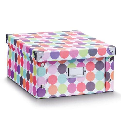 Zeller-17892-Aufbewahrungsbox-Dots-Pappe-31-x-26-x-14-cm