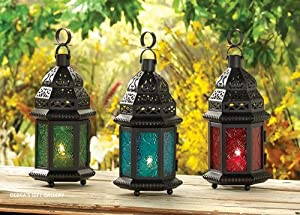 10 RED GLASS MOROCCAN LANTERS