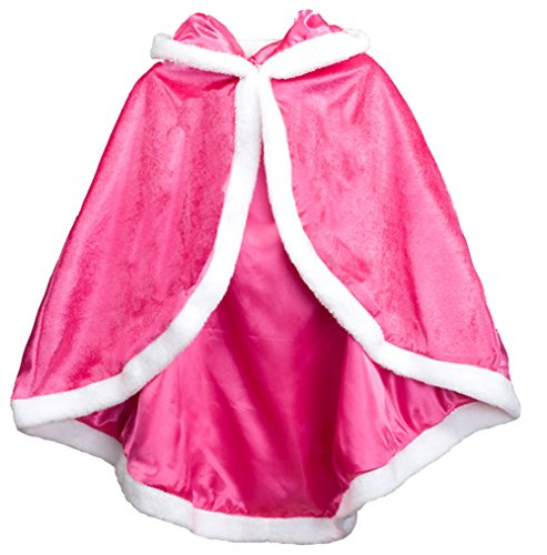 Kids Girls Frozen Princess Anna Elsa Fancy Dress Cosplay Dressing Up Costume Hood Cape Cloak Cowl Shawl Snowsuit Stole (4-5 Years, Red)