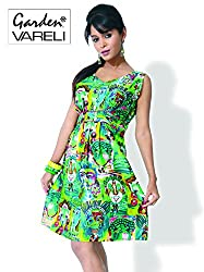 Garden Vareli Womens Cotton A-Line Dress (Gardenvareli Western Dress 1027-A _Green _Medium)